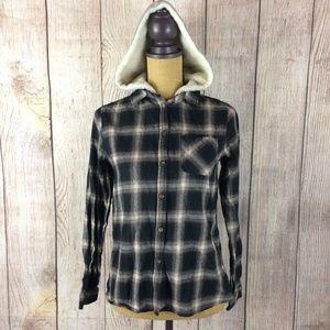 Daytrip Button Down Hooded Flannel Sz S